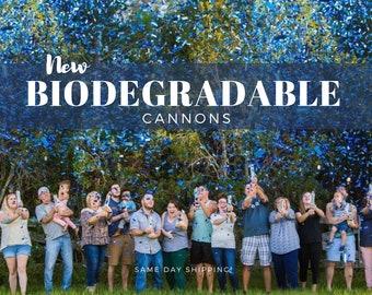 "Biodegradable Gender Reveal Confetti Cannon 12"", Same Day Shipping, Party Confetti Cannon, Gender Reveal Idea Blue Pink"
