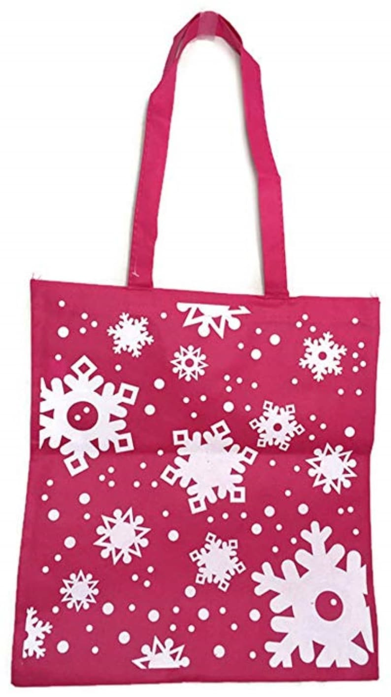 Traditional Snowflake Themed Christmas Tote Bag 116 x 15  Great for Gifts Toys or Groceries School Party Door Prize