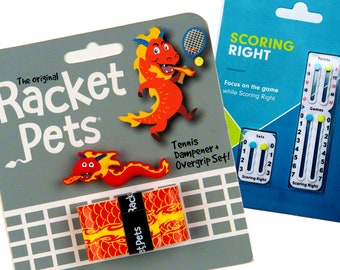 VALUE PACK - 1 Scoring Right Tennis Score Keeper and 1 Dragon Racket Pet Set for Tennis Racquet