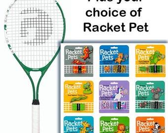 VALUE PACK - A Racket Pet Dampener & Overgrip Set with a Gamma Junior Tennis Racquet:  Green 25 Inch Youth Tennis Racket Prestrung