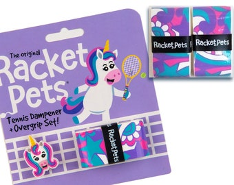 VALUE PACK - Unicorn Tennis Racket Dampener & Overgrip Set set with 2 Extra Overgrips - Shock Absorber and Grip Tape for Tennis Racquet