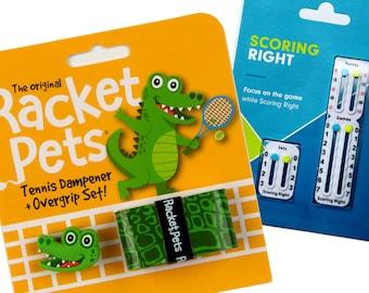 VALUE PACK - 1 Scoring Right Tennis Score Keeper and 1 Alligator Racket Pet Set for Tennis Racquet