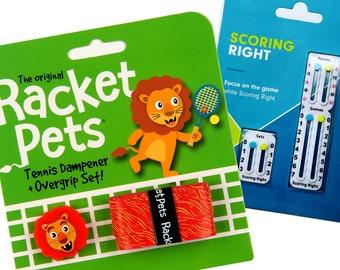 VALUE PACK - 1 Scoring Right Tennis Score Keeper and 1 Lion Racket Pet Set for Tennis Racquet