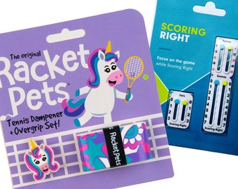VALUE PACK - 1 Scoring Right Tennis Score Keeper and 1 Unicorn Racket Pet Set for Tennis Racquet