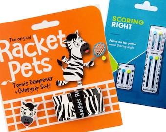 VALUE PACK - 1 Scoring Right Tennis Score Keeper and 1 Zebra Racket Pet Set for Tennis Racquet