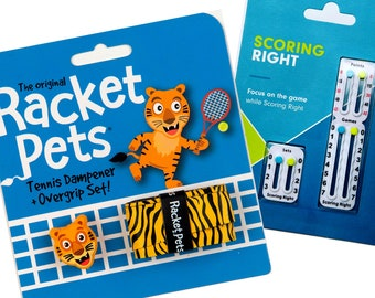 VALUE PACK - 1 Scoring Right Tennis Score Keeper and 1 Tiger Racket Pet Set for Tennis Racquet