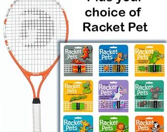 VALUE PACK - A Racket Pet Dampener & Overgrip Set with a Gamma Junior Tennis Racquet:  Orange 23 Inch Youth Tennis Racket Prestrung