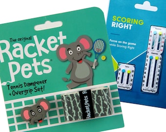 VALUE PACK - 1 Scoring Right Tennis Score Keeper and 1 Elephant Racket Pet Set for Tennis Racquet