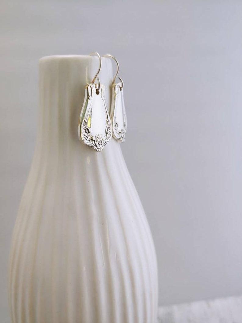 Daybreak-Elegant Lady 1952~Silverware Spoon Handle Earrings~Handmade~Silver plated~Flatware~EA2080~