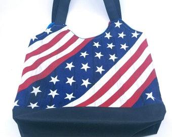American Flag And Brazil Flag Canvas Tote Shoulder Bag Casual Handbag For Womens Black