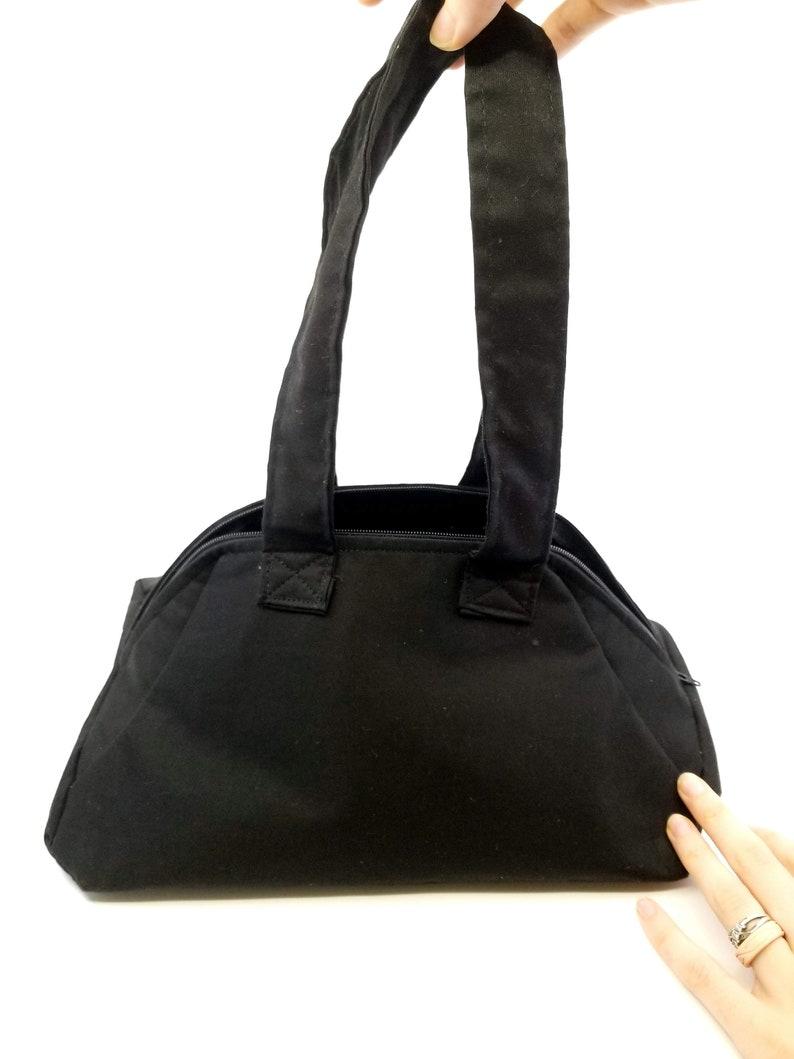 Womens Black Handbags KirsaK Handmade Black Fabric Handbag Fabric Purse Black Doctor Handbag All Black Tote Bag Black Tote Bag Canvas