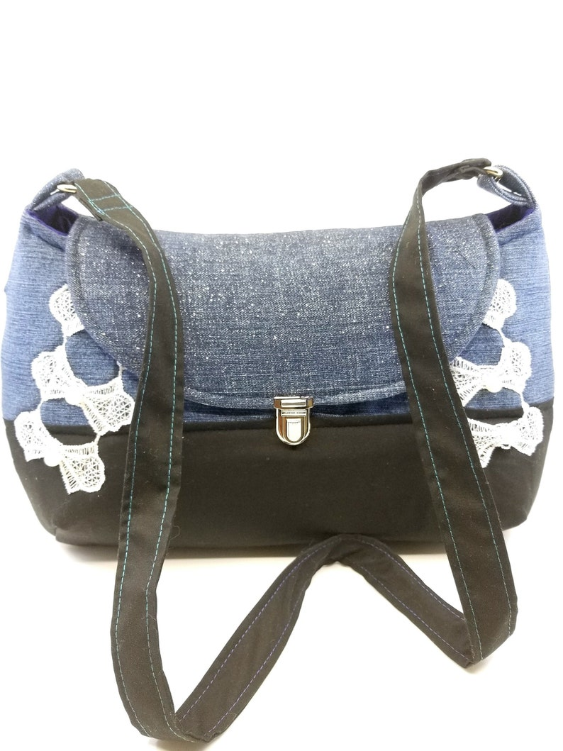 e738de4c162 Handmade Shoulder Bag, Crossbody Denim Purse, Handmade Fabric Purse,  Upcycled Female Crossbody Handbag, Dark Blue Jean Shoulder Bag, KirsaK