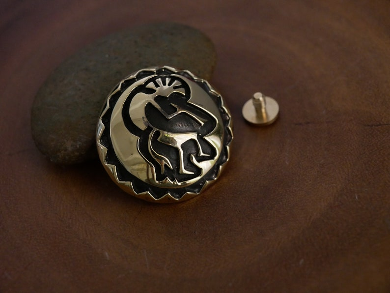 Tribe Sun Engraving Concho Snap wallet Solid Brass Leather Craft Supplies Biker Wallet Connector Vintage Conchos Buttons
