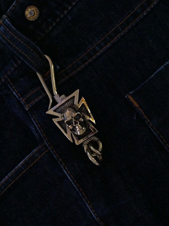 New Rock Punk Style Leather Gun Metal Clamp Charm Key Fob  Keychain