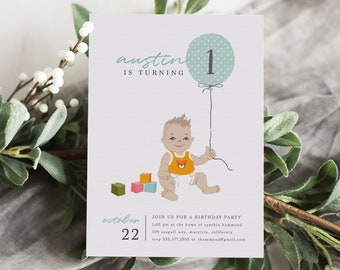 First Birthday Invitation Boy Photo 1st Baby Illustration Printable IBB
