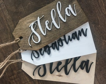 Stocking Tag with Custom Laser Cut Name