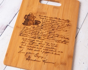 Custom Engraved Handwritten Recipe on Bamboo Cutting Board