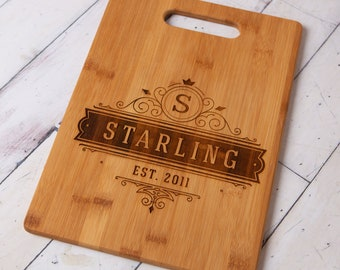 Personalized Rectangle Bamboo Cutting Board w/ Handle