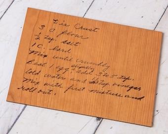 Custom Engraved Handwritten Recipe Card Keepsake