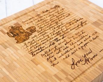 Custom Engraved Handwritten Recipe on Bamboo Butcher Block