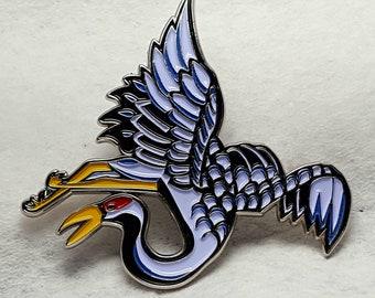 Crane Tattoo Art Enamel Pin