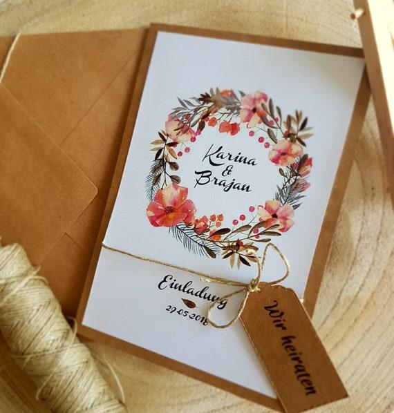 Einladung Hochzeit Hochzeitseinladung Blumenkranz Vintage Etsy