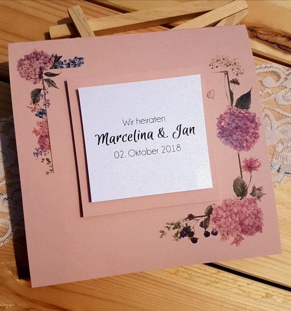 10x Einladung Zur Hochzeit Hochzeitseinladung Vintage Rosa Etsy