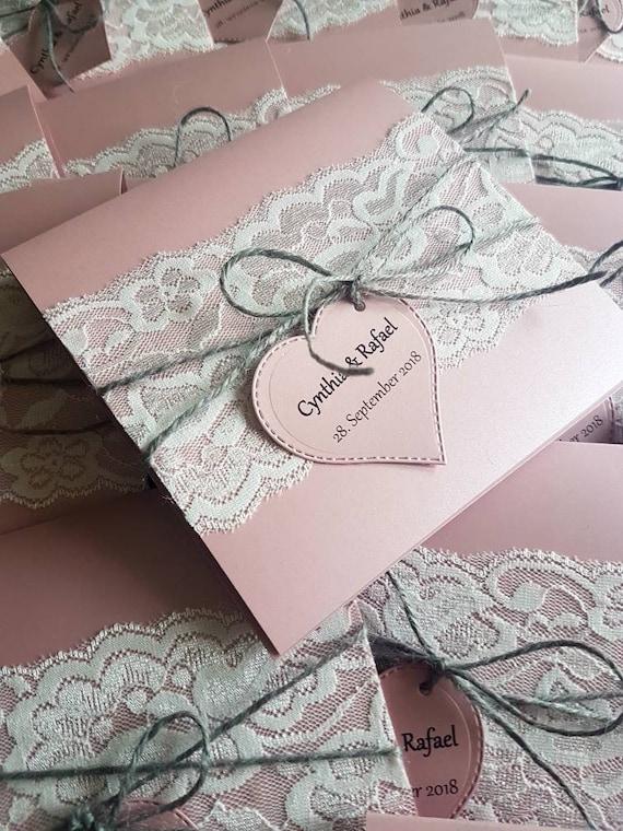 10x Hochzeiteinladung Rosa Altrosa Einladungskarten Hochzeit Etsy