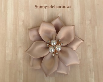 Holiday Champagne Silver Hair Bow Clip