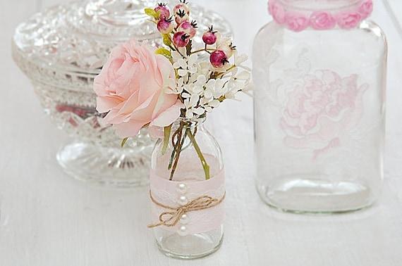 Kleine Vase rosa Hochzeitsdeko Vintage Shabby Chic Landhaus Vintage  Hochzeit Boho