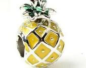 1pc Tropical Food Pineapple Enamel Bead Charm Bead for European Bracelet Pandora Spacer Bead