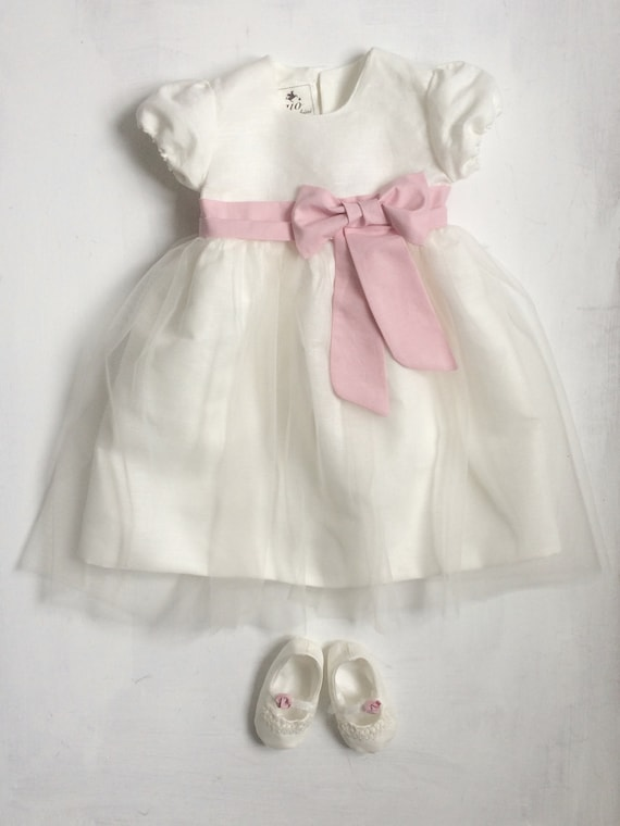 Christening Gown Girls spring summer Satin Linen Tulle Party Dress ELLA