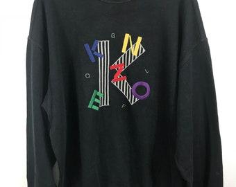 d3c0f278e Rare Kenzo Golf Multicolor Spellout Embroidery Logo Crewneck Sweatshirts