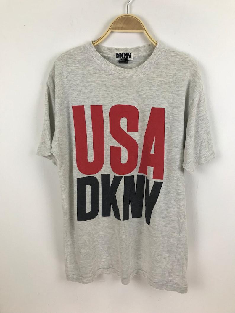 DKNY Usa Spellout Big Logo Shirt Medium Size