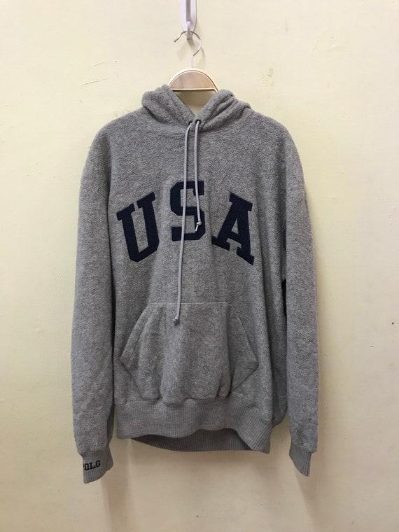 Polo Usa spellout Logo hoodie medium size