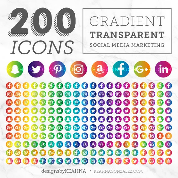 Social Media Gradient Icons Circle Transparent Background And Icon Buttons Zip Of 200 High Resolution Png S