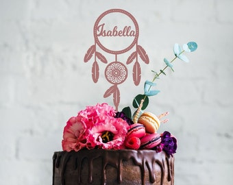 Custom Dream Catcher with Name Cake Topper - Personalised Cake Topper - Boho Party