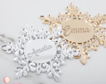 Custom Engraved Hanging Snowflake Decoration - Personalised Christmas Decorations