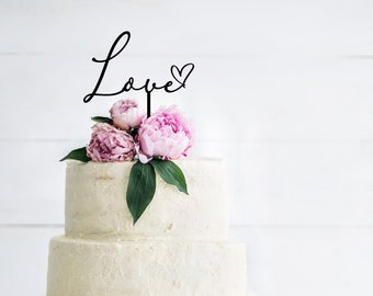 Love & Heart Wedding Cake Topper - Engagement Party - Wedding Cake Decorations