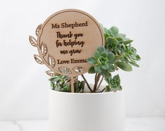 Personalised Planter Stick Teacher's Gift - Custom Gifts - Engraved Presents