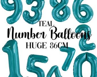 Teal Foil Number Balloon 86cm