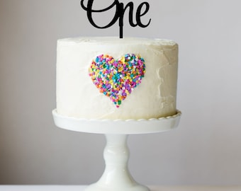 One First Birthday Cake Topper - Baby Birthday Party - Cake Decorations