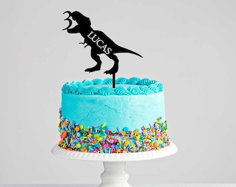 Personalised T-Rex Dinosaur Cake Topper - Dinosaur Party - Cake Decorations