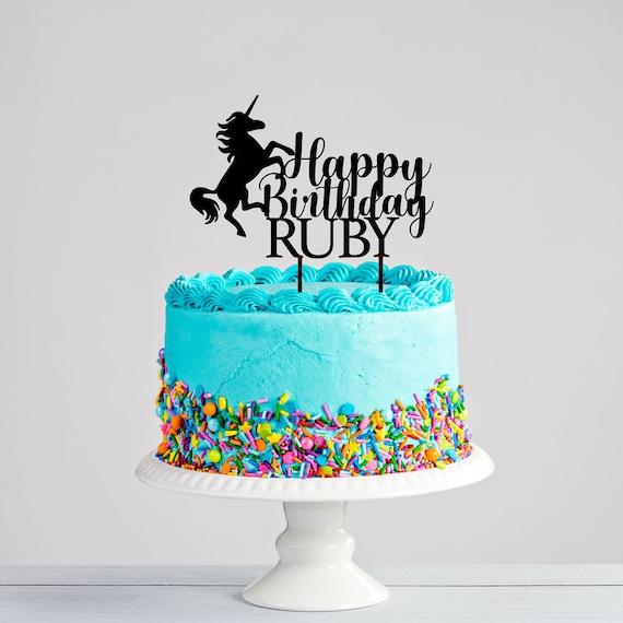 Pleasant Custom Unicorn Birthday Cake Topper Girls Birthday Party Etsy Personalised Birthday Cards Paralily Jamesorg