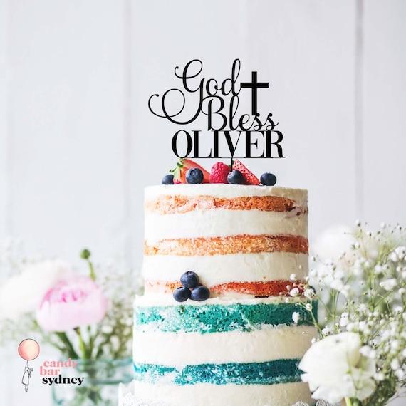 Personalised God Bless Cake Topper Custom Cake Toppers Personalised Baptism Cake Topper
