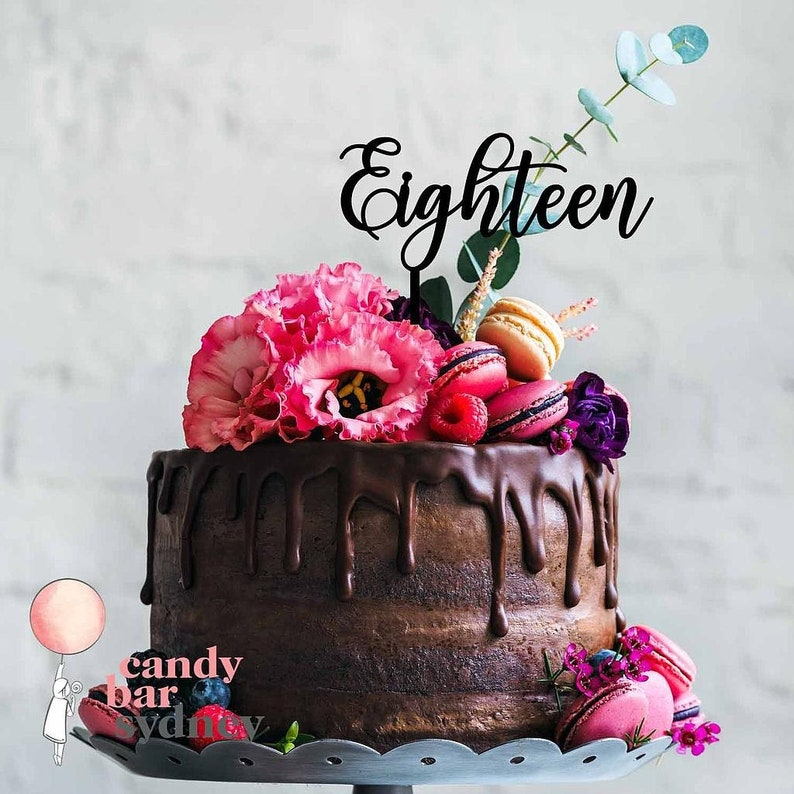 Eighteen 18th Birthday Cake Topper Style 3 Rose Gold Cake Etsy