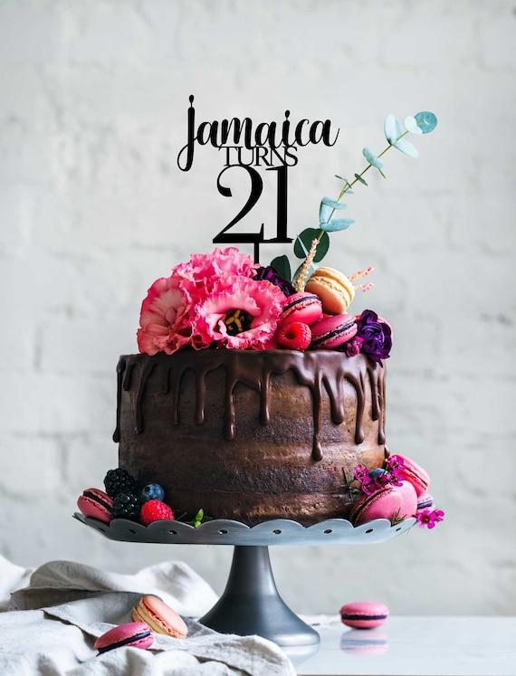 Surprising Name Turns Age Custom Cake Topper 21St Birthday Topper Etsy Funny Birthday Cards Online Chimdamsfinfo