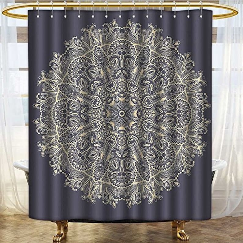 Mandala Decor Shower Curtain Bohemian Floral Mystery Deep