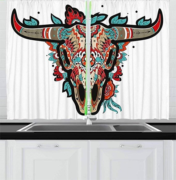 Western Kitchen Curtains Buffalo Sugar Mexican Skull Colorful Ornate Design Horned Animal Trophy Window Drapes 2 Panel Set For Kitchen Caf