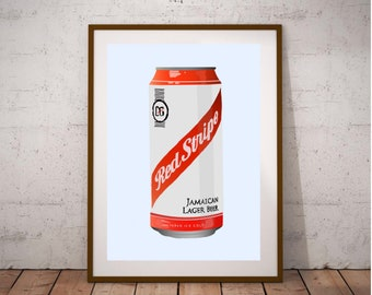 Red Stripe Beer Logo Jamaican Lager Retro Wall Decor Bar Man Cave Metal Tin Sign